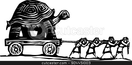 Slow Moving stock vector clipart, Woodcut style expressionist image of people hauling a turtle on a wagon. by Jeffrey Thompson