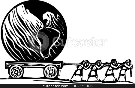 Dragging the Earth stock vector clipart, Woodcut style expressionist image of people hauling a Globe on a wagon. by Jeffrey Thompson