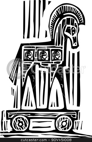 Trojan Horse stock vector clipart, Woodcut style expressionist image of the Greek Trojan Horse by Jeffrey Thompson