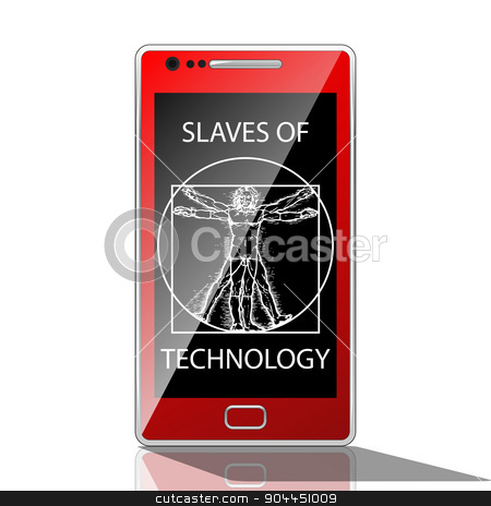 Slaves of technology stock vector clipart, Illustration of a man in a mobile phone as slaves to technology. by Andrija Markovic