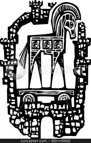 Trojan Horse in Walls stock vector clipart, Woodcut style expressionist image of the Greek Trojan Horse inside the walls of the city of Troy. by Jeffrey Thompson