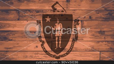 Massachusetts Flag Brand stock vector clipart, Massachusetts State Flag branded onto wooden planks by Kotto