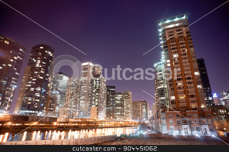 Inner Canal Waterway Downtown Chicago City Skyline stock photo, Night falls in the concrete jungle that is Chicago by Christopher Boswell