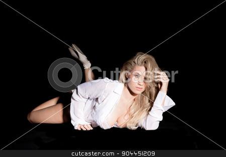 pretty blonde in open shirt stock photo, pretty blonde in open shirt on black background by sijohnsen