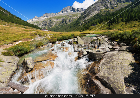 Care Alto - Adamello Trento Italy stock photo, Peak of Care Alto (3462 m) and Chiese river in the National Park of Adamello Brenta seen from the Val di Fumo. Trentino Alto Adige, Italy by catalby
