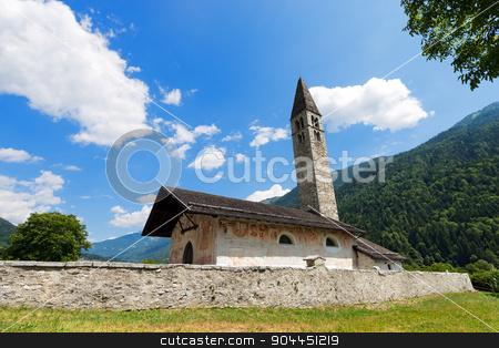 Church of Sant'Antonio Abate - Pelugo Trento Italy stock photo, Ancient church of Sant'Antonio Abate (XV century) in Pelugo, Val di Fassa, Trento Italy by catalby