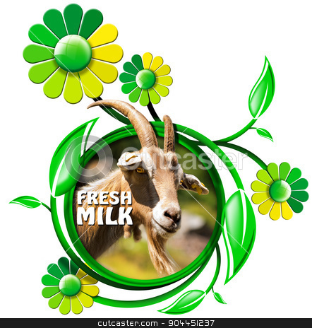 Fresh Milk - Symbol with Goat and Flowers stock photo, Symbol with a head of goat with horns, and text fresh milk, green and yellow flowers with leaves. Isolated on white background by catalby