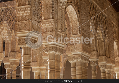 Islamic Palace Interior stock photo, Moresque ornaments from Alhambra Islamic Royal Palace, Granada, Spain. 16th century. by Paolo Gallo