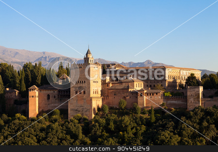Alhambra in Granada - Spain stock photo, Word Heritage UNESCO site, photographed from the best viewpoint in front of the monument at sunset by Paolo Gallo