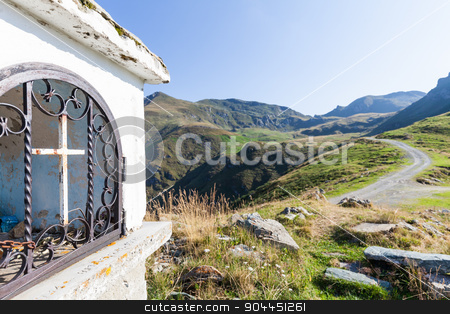 Christian chapel stock photo, Christian chapel during a sunny day on Italian Alps - faith concept by Paolo Gallo