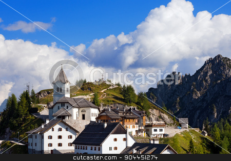 Monte Santo di Lussari - Tarvisio Italy stock photo, View of the ancient village of Monte Lussari (1790 m) in the Italian Alps. Tarvisio, Friuli Venezia Giulia, Italy by catalby