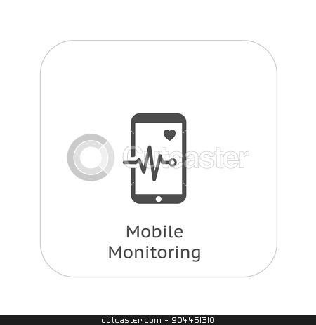 Mobile Monitoring and Medical Services Icon. Flat Design. stock vector clipart, Mobile Monitoring and Medical Services Icon. Flat Design. Isolated. by Vadym Nechyporenko