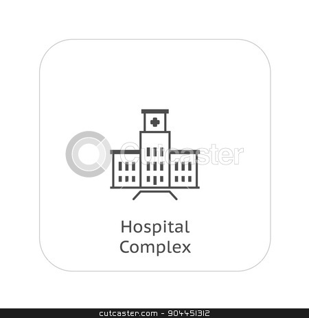 Hospital Complex Icon. Flat Design. stock vector clipart, Hospital Complex Icon. Flat Design. Isolated. by Vadym Nechyporenko