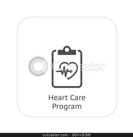 Heart Care Program and Medical Services Icon. Flat Design. stock vector clipart, Heart Care Program and Medical Services Icon. Flat Design. Isolated. by Vadym Nechyporenko