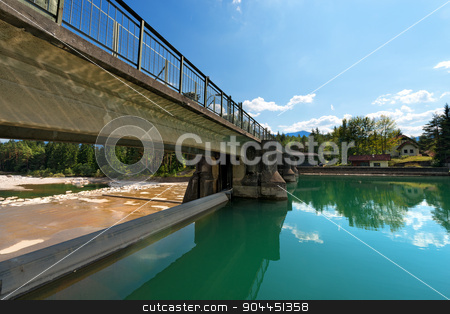 Old Dam on the Gail River - Austria stock photo, Ancient dam on the Gail river in Arnoldstein - Carinthia Austria by catalby