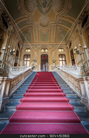 Luxury entrance stock photo, Red carpet for this Italian old palace entrance by Paolo Gallo