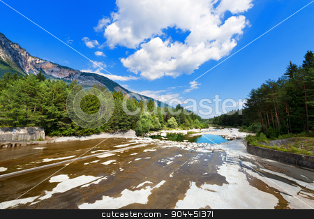 Riverbed Dried After the Dam - Carinthia Austria stock photo, The dry Gail River, downstream of the dam. Carinthia, Austria by catalby