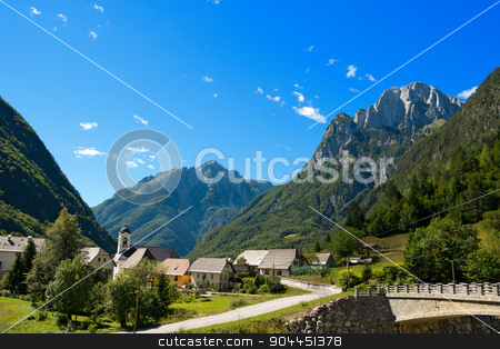 Small Village and Julian Alps - Slovenia stock photo, Small village (Bretto) in Julian Alps in the Triglav National Park - Bovec, Slovenia, Europe by catalby