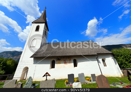 Small Mountain Church - Oberschutt Austria stock photo, Catholic Church in Gothic style with cemetery, dedicated to St. Mary Magdalene in the small village of Oberschutt in Carinthia - Austria by catalby