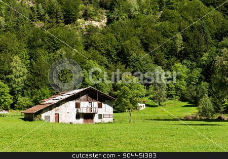 Typical Old Farmhouse - Trentino Italy stock photo, Typical old farm house with barn in mountain. Trentino Alto Adige, Italy by catalby