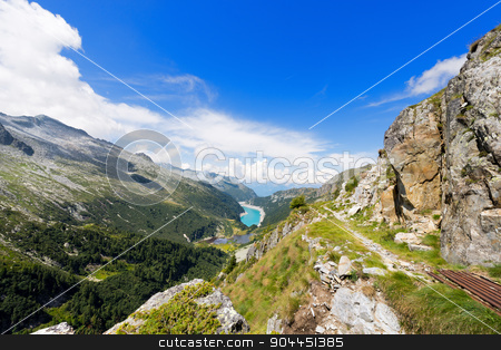 Val Ghilarda and Lago d'Arno - Lombardy Italy stock photo, Ghilarda Valley and Lake of Arno (man made lake) seen from Campo pass. Adamello, Lombardy, Italy by catalby
