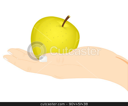 Apple in hand stock vector clipart, Ripe apple in hand of the person on white background by cobol1964