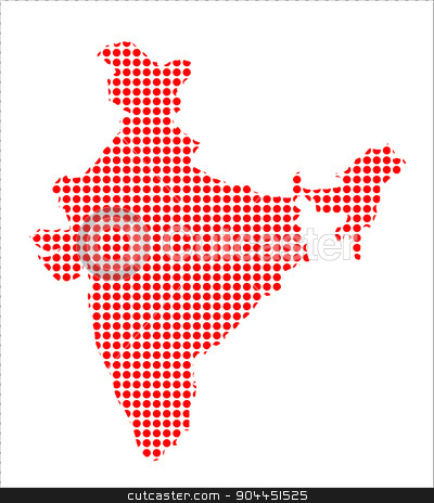 Red Dot Map of India stock vector clipart, Map of India created from a series of red dots by Kotto