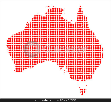 Red Dot Map of Australia stock vector clipart, A map of Australia created from a series of red dots over a white background by Kotto