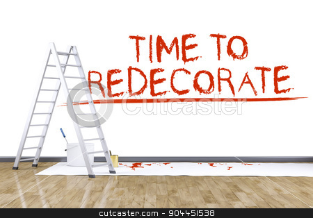 room with a ladder stock photo, 3d render of redecorate a room with a ladder by Markus Gann