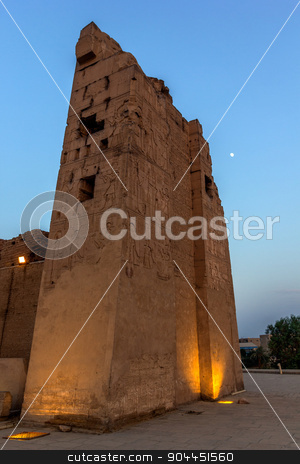 Kom ombo pylon stock photo, a vertical view of the pylon of the Kom Ombo temple, Egypt by Noelia