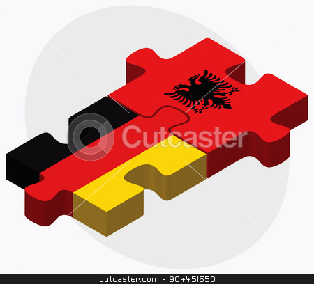 Germany and Albania Flags stock vector clipart, Germany and Albania Flags in puzzle  isolated on white background  by Istanbul2009