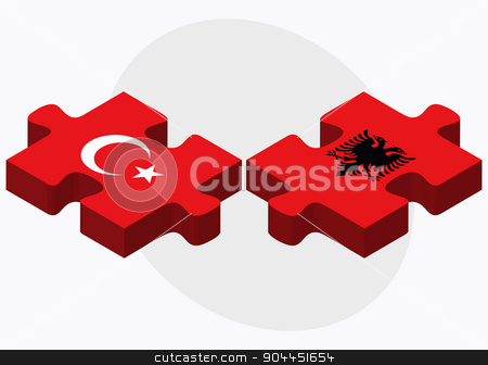 Turkey and Albania Flags  stock vector clipart, Turkey and Albania Flags in puzzle  isolated on white background  by Istanbul2009