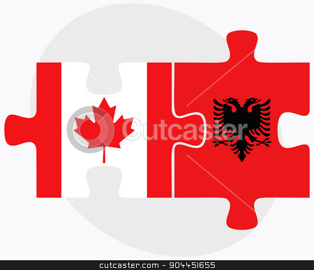 Canada and Albania Flags stock vector clipart, Canada and Albania Flags in puzzle  isolated on white background  by Istanbul2009