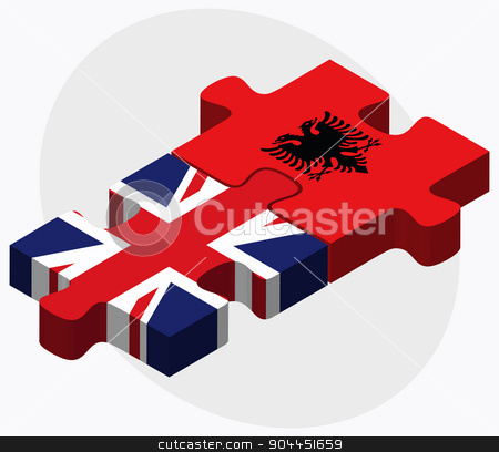 United Kingdom and Albania Flags stock vector clipart, United Kingdom and Albania Flags in puzzle  isolated on white background  by Istanbul2009