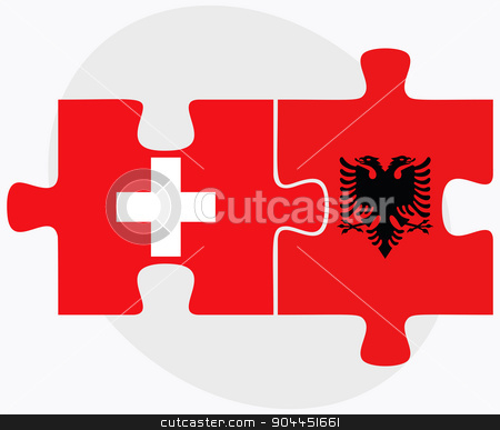 Switzerland and Albania Flags stock vector clipart, Switzerland and Albania Flags in puzzle  isolated on white background  by Istanbul2009