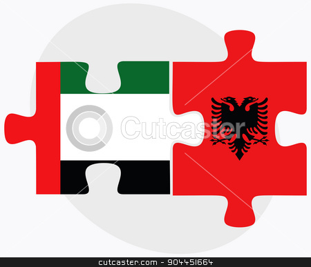 United Arab Emirates and Albania Flags stock vector clipart, United Arab Emirates and Albania Flags in puzzle  isolated on white background  by Istanbul2009