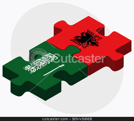 Saudi Arabia and Albania Flags  stock vector clipart, Saudi Arabia and Albania Flags in puzzle  isolated on white background  by Istanbul2009