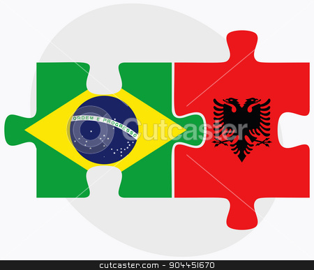 Brazil and Albania Flags stock vector clipart, Brazil and Albania Flags in puzzle  isolated on white background  by Istanbul2009