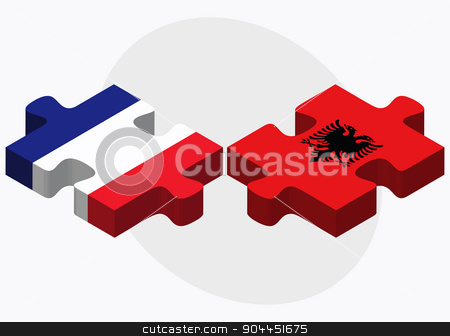 France and Albania Flags  stock vector clipart, France and Albania Flags in puzzle  isolated on white background  by Istanbul2009