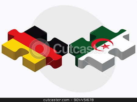 Germany and Algeria Flags stock vector clipart, Germany and Algeria Flags in puzzle  isolated on white background  by Istanbul2009