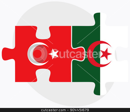 Turkey and Algeria Flags stock vector clipart, Turkey and Algeria Flags in puzzle  isolated on white background  by Istanbul2009