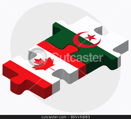 Canada and Algeria Flags stock vector clipart, Canada and Algeria Flags in puzzle  isolated on white background  by Istanbul2009