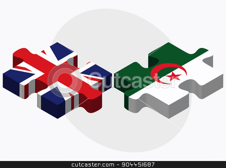 United Kingdom and Algeria Flags stock vector clipart, United Kingdom and Algeria Flags in puzzle  isolated on white background  by Istanbul2009