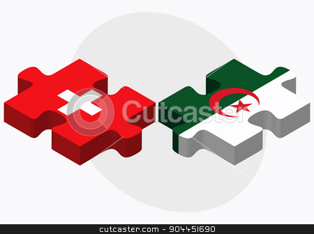 Switzerland and Algeria Flags  stock vector clipart, Switzerland and Algeria Flags in puzzle  isolated on white background  by Istanbul2009