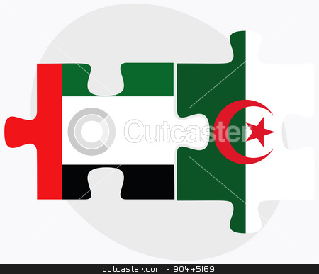 United Arab Emirates and Algeria Flags stock vector clipart, United Arab Emirates and Algeria Flags in puzzle  isolated on white background  by Istanbul2009