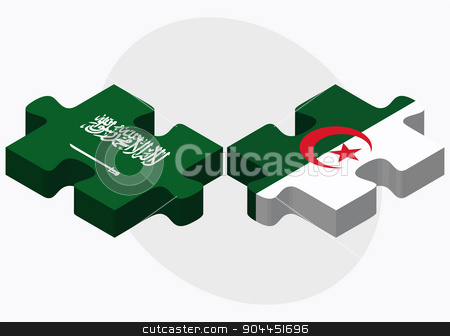 Saudi Arabia and Algeria Flags stock vector clipart, Saudi Arabia and Algeria Flags in puzzle  isolated on white background  by Istanbul2009