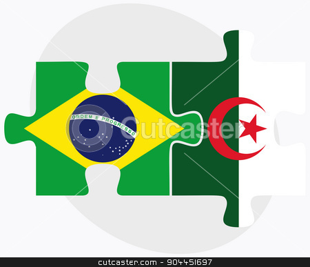 Brazil and Algeria Flags stock vector clipart, Brazil and Algeria Flags in puzzle isolated on white background  by Istanbul2009