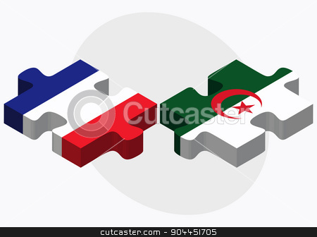 France and Algeria Flags stock vector clipart, France and Algeria Flags in puzzle  isolated on white background  by Istanbul2009
