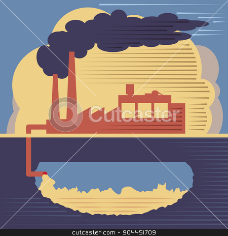 Factory building - air and soil pollution stock vector clipart, Pollution concept. Industrial pollution illustration, factory smoke from the chimney and air and soil pollution by Serhii