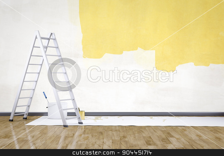 room with a ladder stock photo, 3d render of renew a room with a ladder by Markus Gann